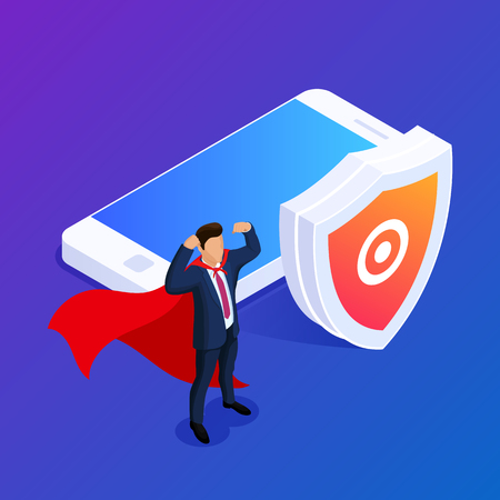 Isometric database protection concept. Protect your files or photos on your mobile device. Can use for web banner, infographics, hero images. 3d vector illustration