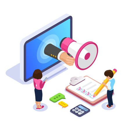 3d Isometric online learning concept. Learning a profession through the Internet. Hand with a megaphone from the monitor. Man with a pencil makes notes. Can use for web banner, infographics. Archivio Fotografico - 125061974
