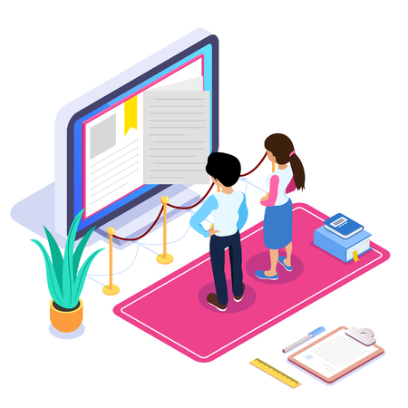 3d Isometric online learning or video tutorial concept. Remote method of obtaining a new profession. The guy and the girl look at the computer monitor. Can use for web banner, infographics. Isolated. Archivio Fotografico - 125061975