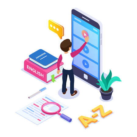3d Isometric learning languages concept. Person learns foreign language via Internet by viewing video tutorials on the phone. Stack books, dictionary. Can use for web banner, infographics. Isolated. Archivio Fotografico - 125061976