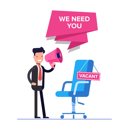 Flat we are hiring concept. Businessman or HR manager speaks in megaphone. Empty workplace with a sign. Can use for web banner, infographics, hero images. Vector isolated.