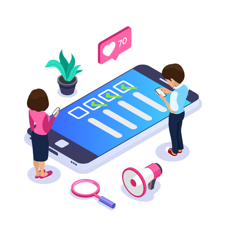 3d Isometric online survey concept. Vote or checklist. Man and woman from mobile devices are surveyed on the site. Can use for web banner, infographics, hero images Vektorové ilustrace