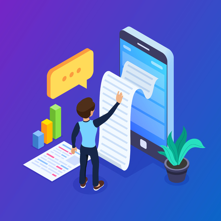 3d Isometric statistics data concept. Notification on financial transaction, mobile bank, smartphone with paper bill. Man and woman use mobile device. Can use for web banner, infographics. Archivio Fotografico - 125061977