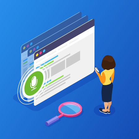 3d Isometric voice search concept. Using the phone for voice search on the web site. Interaction with a mobile device through voice input. Can use for web banner, infographics, hero images