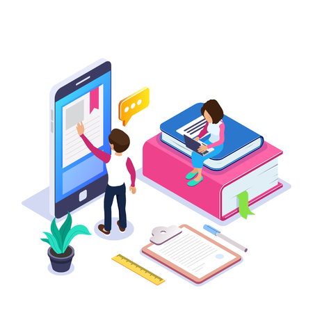 3d Isometric online learning or distance courses concept. Student reads textbook through mobile phone. Girl with laptop is sitting on stack of books. Can use for web banner, infographics. Isolated. Archivio Fotografico - 125061978