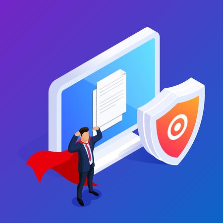 Concept de protection de base de données isométrique. Protégez vos fichiers ou photos sur votre PC de bureau. Peut être utilisé pour la bannière Web, les infographies, les images de héros. illustration vectorielle 3D.