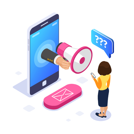 3d Isometric voice message concept. Megaphone in hand. A woman listens to a voice message on the phone. Email button. Can use for web banner, infographics, hero images. Isolated