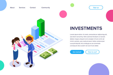 Isometric Investment Concept. Man talks about the benefits of investment on the background of the graph of growth of income. Can use for web banner, sites, infographics, print products