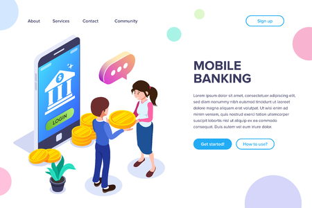 Isometric Mobile Banking Concept. Transfer of funds using a mobile phone. Using a smartphone for operations with bank cards and accounts. Payment of purchases or services. Иллюстрация