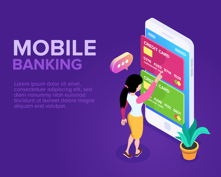 Isometric Mobile Banking Concept. Transfer of funds using a mobile phone. Using a smartphone for operations with bank cards and accounts. Payment of purchases or services Foto de archivo - 117814934