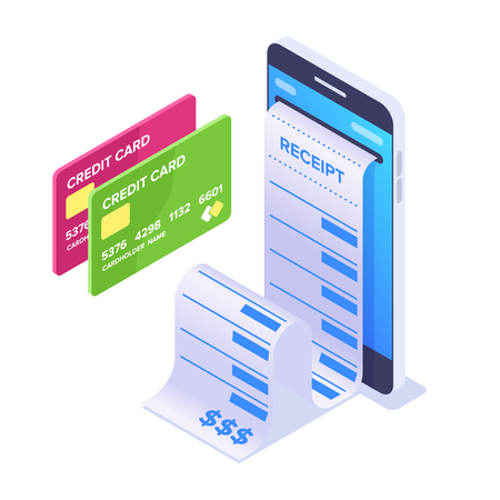 Isometric Mobile Payment Concept. Smartphone and cashier's check. Bank cards for online payment. Vector illustration isolated on white background Vectores