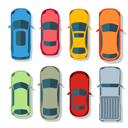 Cars top view vector flat. Vehicle transport icons set. Automobile car for transportation, auto car icon illustration isolated on whine background 일러스트