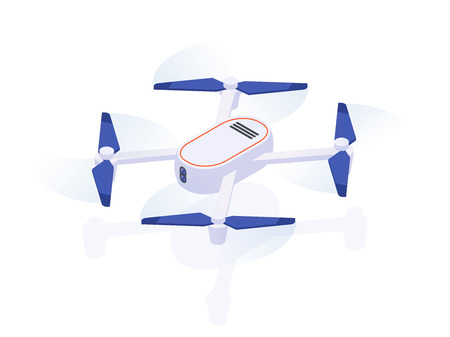 Realistic air Drone Quadrocopter for Monitoring and Video Isometric View. Vector isolated illustration of drone Icon fly, delivery and camera records