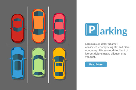 Free car parking lot with different car. Top view vehicle vector illustration in Flat style Isolated. Web page template