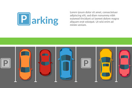 Cars free parking top view vector flat. Vehicle transport set. Web page template