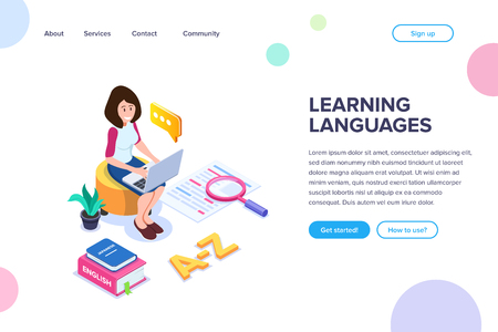 Isometric learning language concept. Studying of foreign language. The girl is engaged through the Internet using a laptop. Books or dictionaries. New knowledge. Vector Isolated illustration