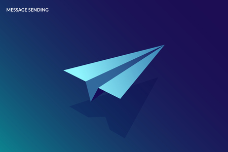 Isometric Message Sending Concept. Vector paper small aircraft. Image for banner or landing page Illustration