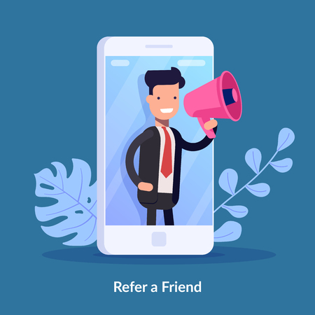 Refer a friend vector illustration concept. Digital business. People shout on megaphone with refer a friend word. Can use for landing page, template, ui, web, mobile app, poster banner or flyer 矢量图像