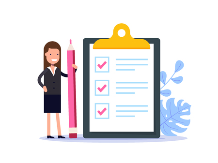 Positive business woman with a giant pencil nearby marked checklist on a clipboard paper. Successful completion of business tasks. Flat vector illustration.