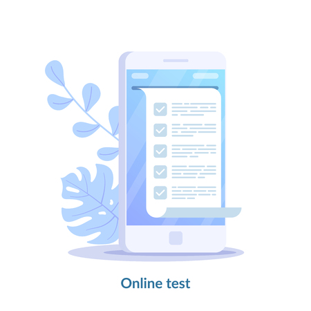 Online test concept. Computer quiz form on smartphone. Online to do list testing digital exam questionnaire result. Flat vector illustration isolated on white background
