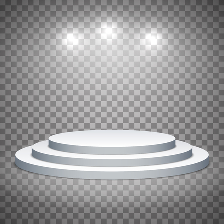 White pedestal with spotlights. Template on a transparent background. Editable vector illustration