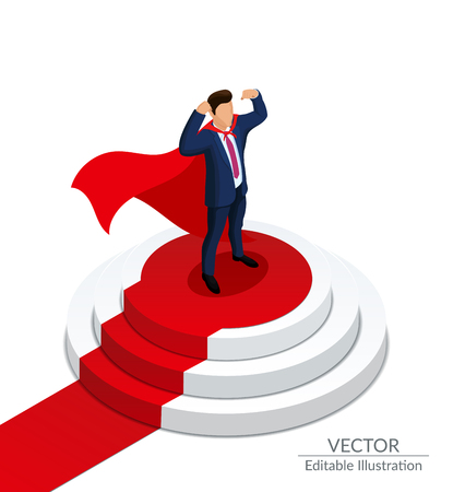 Super Hero Businessman stands on a round podium with a red carpet. Awarding Ceremony. Editable vector illustration on a white background Illustration