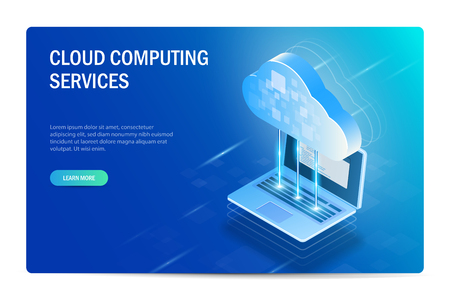 Cloud Computing Services Isometric Concept. The process of synchronizing files with a laptop. Web site template. Blue vector editable illustration