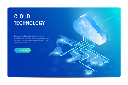 Cloud Technology Isometric Concept. distribution of information technology around the world. World map. Web site template. Blue vector editable illustration