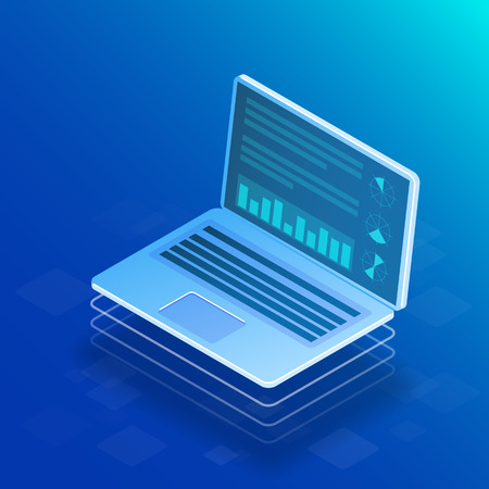Big data concept. Isometric vector illustration on blue background.