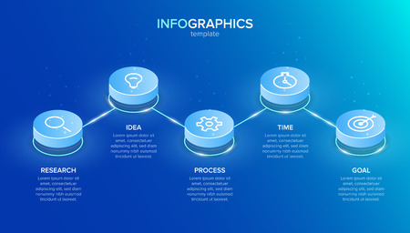 Isometric infographic label template with icons. 5 options or steps. Infographics for business concept. Can be used for info graphics, flow charts, presentations, web sites, banners