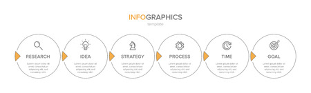 Infographic design with icons and 6 options or steps. Thin line vector. Infographics business concept. Can be used for info graphics, flow charts, presentations, web sites, banners, printed materials
