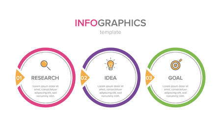 Infographic design with icons and 3 options or steps. Thin line vector. Infographics business concept. Can be used for info graphics, flow charts, presentations, web sites, banners, printed materials 일러스트