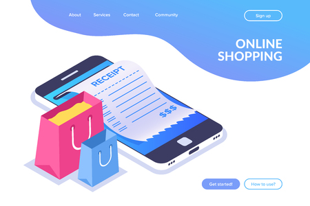 Online shopping isometric concept. shopping bags on the background of a mobile phone. Receipt on the smartphone screen. Flat vector illustration. Illustration