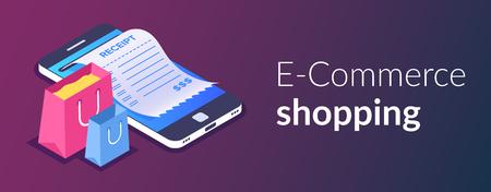Compras en línea con smartphone. Compras de comercio electrónico. Bolsa de compras y recibo en el fondo de un teléfono móvil. Vector ilustración isométrica 3d.