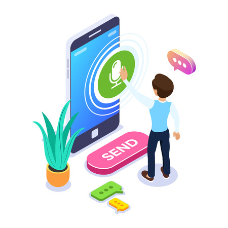 Isometric record voice message concept. A person records a voice or audio message using a mobile phone. Speech bubbles and a flower on the background of the smartphone