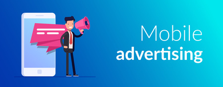 Mobile advertising concept. Businessman or manager speaks into a megaphone. Pop-up notification on the screen of a mobile phone or smartphone. Advertising campaign. Vector illusytation in flat style. Vettoriali