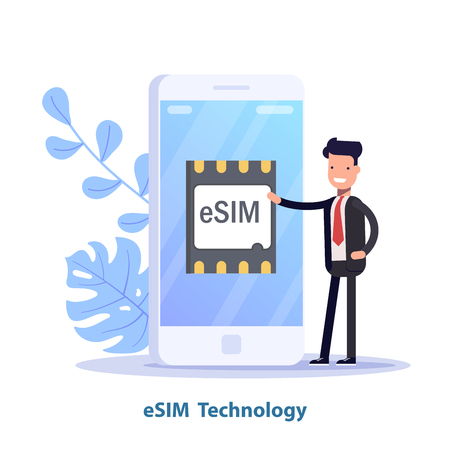 eSIM card chip sign. Embedded SIM concept. New mobile communication technology. Can use for web banner, infographics, hero images. Isometric vector illustration.