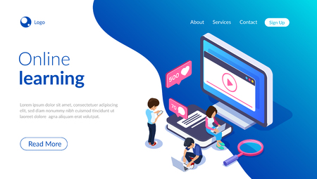 Isometric online learning concept. Video tutorials on the screen of a computer or phone. People on the background of the monitor and a large book. Can use for web banner, infographics, hero images
