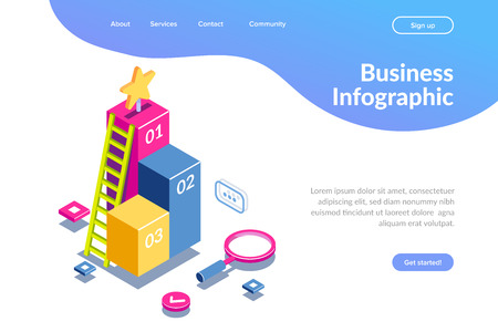 3d infographic for web template. Magnifying glass and ladder on a background of graphics. Can use for web banner, infographics, hero images. Flat isometric vector illustration