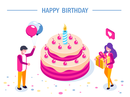 Happy Birthday vector concept. Big Cake with a candle. girl with a gift and a man with balloons in their hands. Can use for web banner, infographics, hero images. Flat isometric vector illustration. Standard-Bild - 124884697