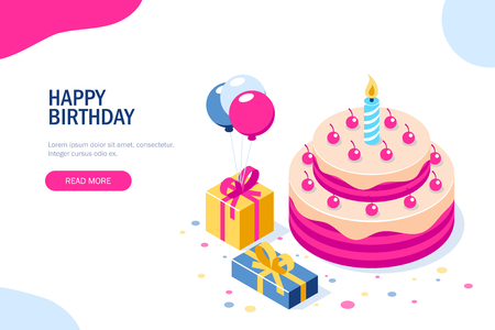 Happy Birthday 3d vector concept. Cake with a candle. Box with gifts and balloons. Can use for web banner, infographics, hero images. Flat isometric vector illustration. Illustration