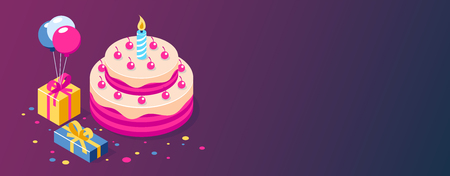 Happy Birthday 3d vector concept. Cake with a candle. Box with gifts and balloons. Can use for web banner, infographics, hero images. Flat isometric vector illustration. Standard-Bild - 124884699