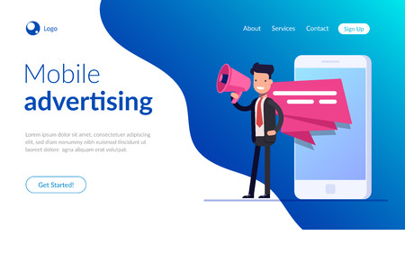 Mobile advertising concept. Businessman or manager speaks into a megaphone. Pop-up notification on the screen of a mobile phone or smartphone. Advertising campaign. Vector illusytation in flat style. 일러스트