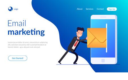 Email marketing concept. Businessman or manager sending email wiht mobile phone. Closed letter. Vector illustration in modern flat style. Ilustração