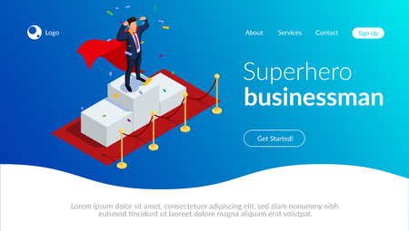 Superhero businessman or manager concept with characters.