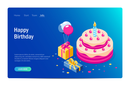 Happy Birthday 3d vector concept. Cake with a candle. Box with gifts and balloons. Can use for web banner, infographics, hero images. Flat isometric vector illustration. Standard-Bild - 124884719