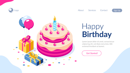 Happy Birthday 3d vector concept. Cake with a candle. Box with gifts and balloons. Can use for web banner, infographics, hero images. Flat isometric vector illustration. Standard-Bild - 124884721