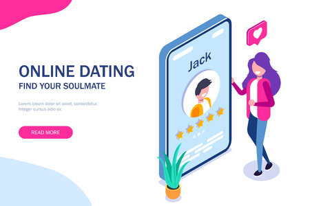 Online dating concept. Young girl evaluates the profile of a guy in a social network or application for dating. Five stars. Vector isometric 3d illustration.