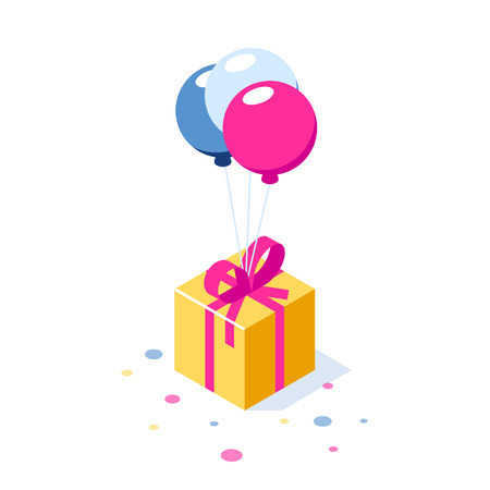 Gift box with ribbon on ballons. Gift symbol. Surprise for a holiday or birthday. Can use for web banner, infographics, hero images. Vector isometric 3d illustration. Standard-Bild - 124884724