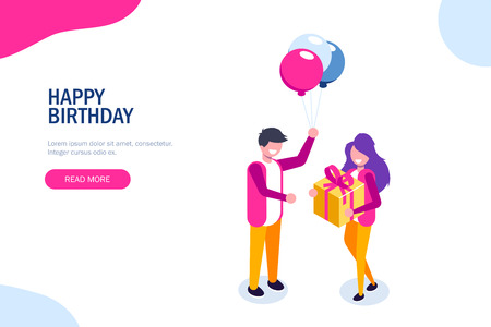 Beautiful boyfriend is presenting a gift to her handsome girl and smiling. Ballon and gift box. Can use for web banner, infographics, hero images. Flat isometric vector illustration Ilustrace